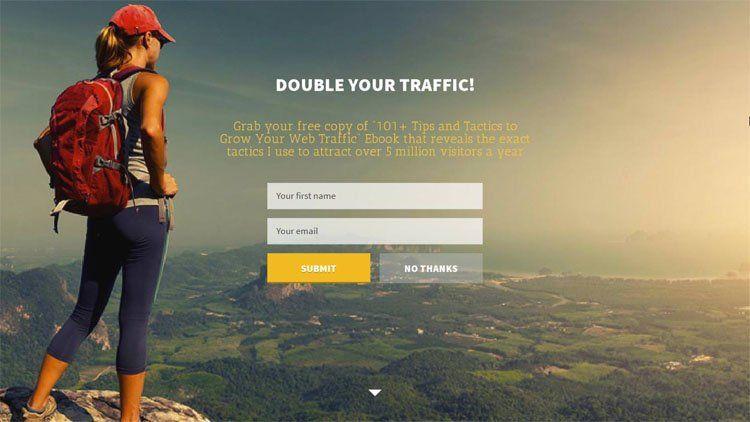 Пример лендинговой страницы для новых пользователей