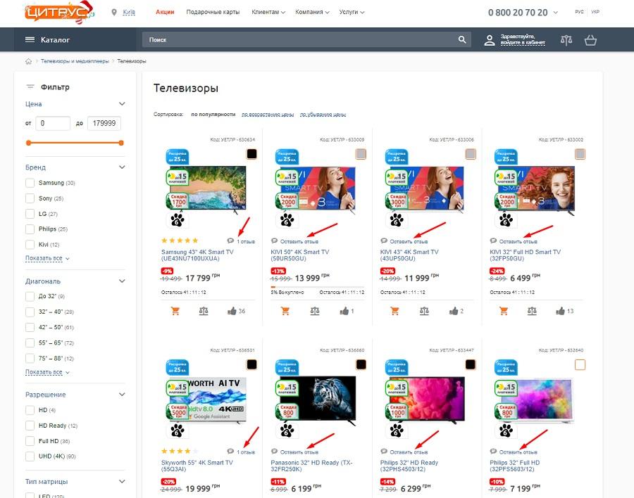 Отзывы покупателей в интернет-магазине